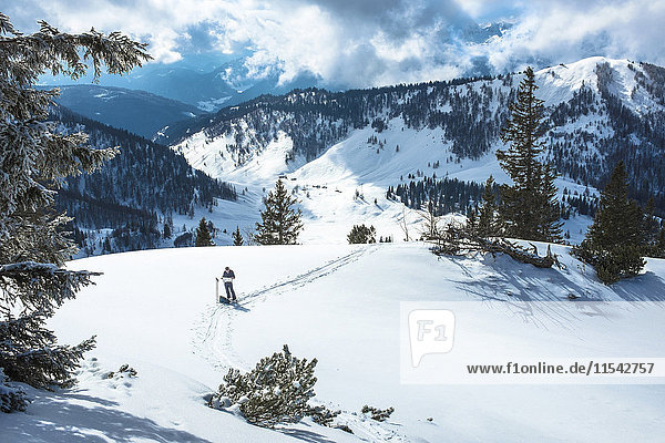 Österreich  Land Salzburg  Osterhorngruppe  Braunedelkogl  Wanderer im Winter