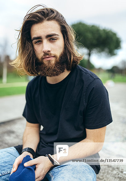 Portrait of bearded young man