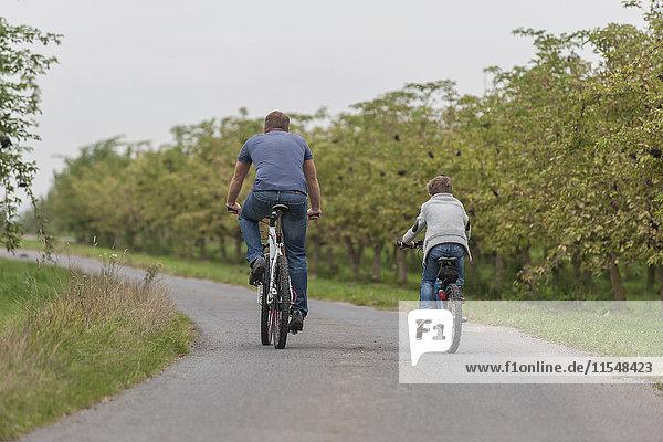 Rückansicht des kleinen Jungen und seines Vaters auf einer Fahrradtour