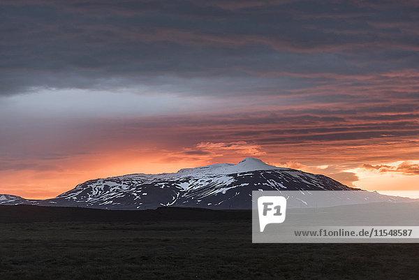 Island  Langjoekull-Gletscher bei Mitternachtssonne