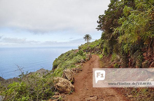 Spanien  Kanarische Inseln  La Gomera  Wanderer auf dem Küstenweg