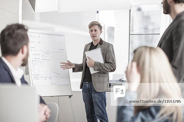 Mann im Amt  der eine Präsentation leitet