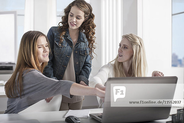Drei junge Frauen im Büro arbeiten gemeinsam am Laptop