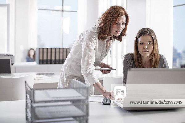 Zwei Frauen im Büro arbeiten zusammen am Laptop
