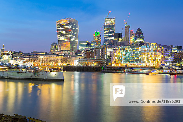 The City of London skyline and River Thames from South Bank  London  England  United Kingdom  Europe