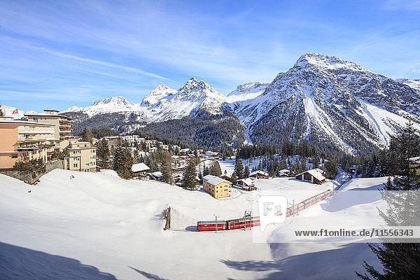 Red train of Rhaetian Railway passes in the snowy landscape of Arosa  district of Plessur  Canton of Graubunden  Swiss Alps  Switzerland  Europe