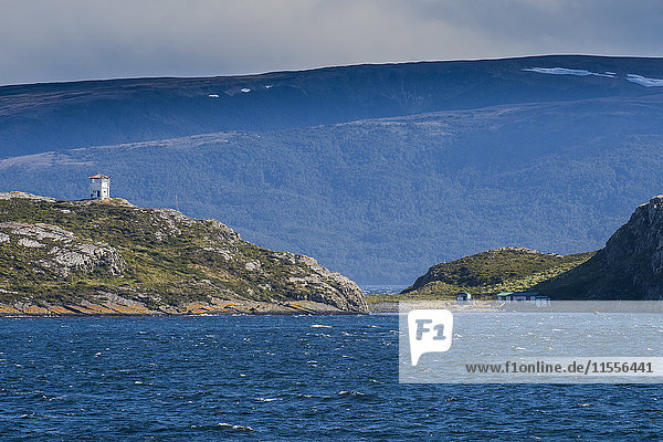 Lonely lighthouse in the Beagle Channel  Tierra del Fuego  Argentina  South America