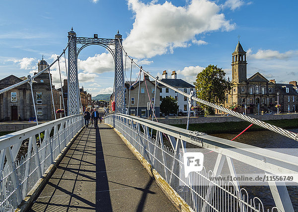 View of the Greig Street Bridge  Inverness  Highlands  Scotland  United Kingdom  Europe