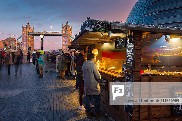 Christmas Market  The Scoop and Tower Bridge  South Bank  London  England  United Kingdom  Europe