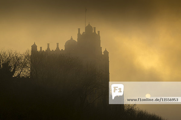 Bolsover Castle sunset  Bolsover  North Derbyshire  England  United Kingdom  Europe