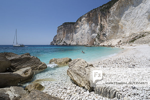 Erimitis beach on west coast  Paxos  Ionian Islands  Greek Islands  Greece  Europe