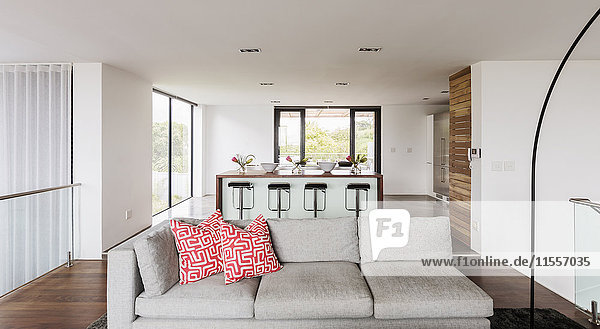 Home showcase interior living room and kitchen open plan