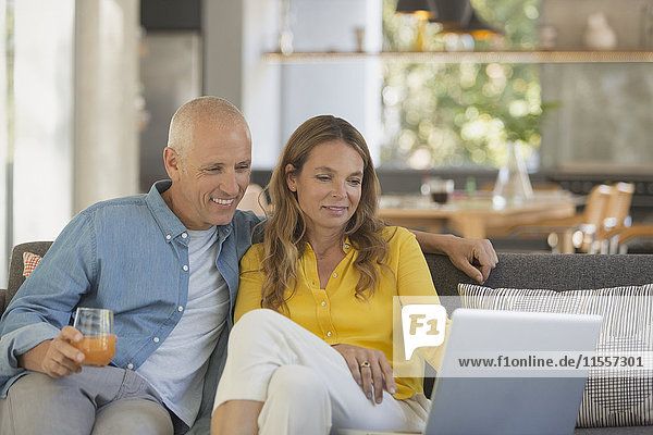 Couple relaxing  using laptop on living room sofa
