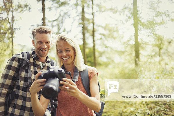Lächelndes Paar beim Wandern  Betrachten der digitalen Spiegelreflexkamera im Wald