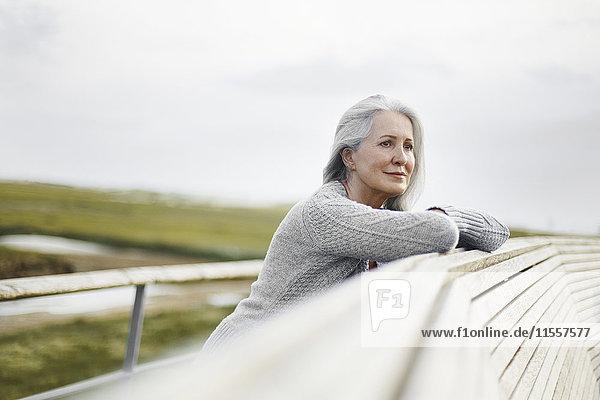 Gelassene Seniorin  die sich auf eine Promenade stützt.