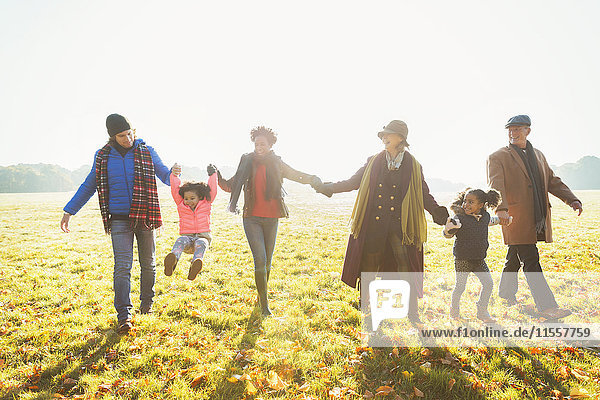Verspieltes Mehrgenerationen-Familienwandern im sonnigen Herbstparkgras