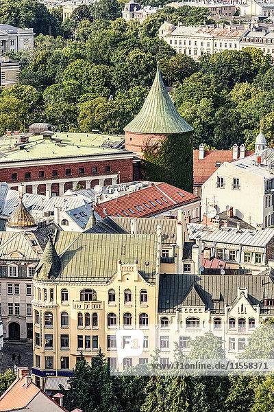 Lettland  Riga  Blick auf die Altstadt mit Pulvermagazin