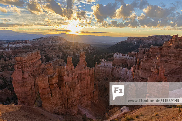 USA  Utah  Bryce Canyon National Park  Thors Hammer und andere Hoodoos im Amphitheater bei Sonnenaufgang vom Navajo Loop Trail aus gesehen.