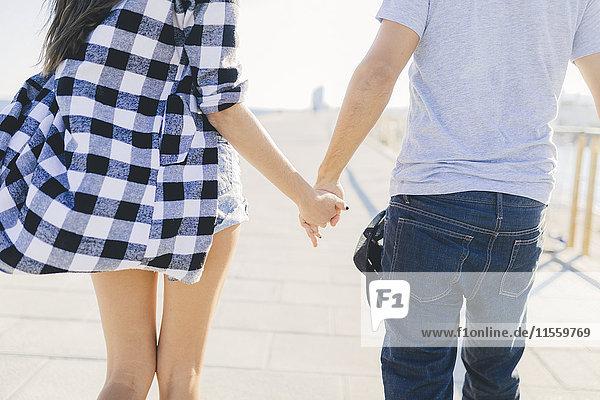 Junges Paar an den Händen  Rückansicht