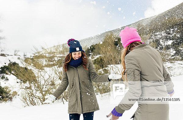 Zwei Freunde haben Spaß im Schnee