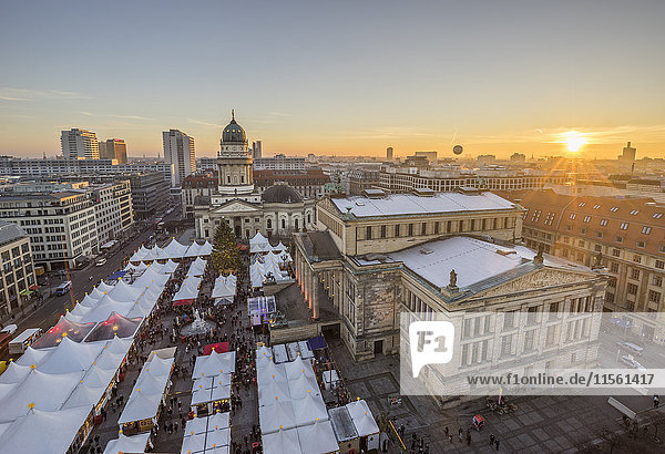 Germany  Berlin  Christmas market at Gendarmenmarkt at sunset