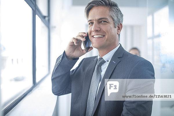 Geschäftsmann im Büro beim Telefonieren