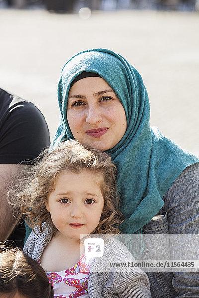 Sweden  Blekinge  Solvesborg  Portrait of mother with daughter (2-3)