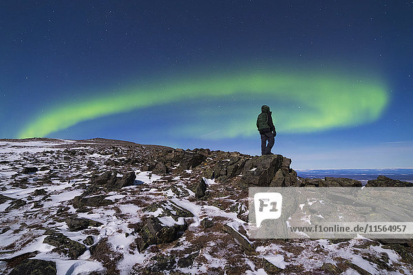 A man watches the aurora borealis from high on Donnelly Dome  south of Delta Junction.