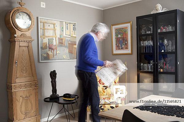 Senior man in living room
