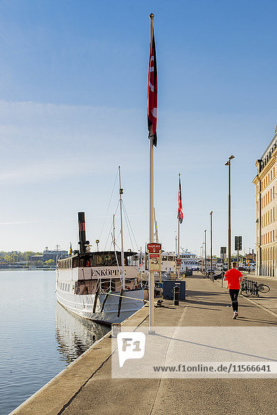 Schweden  Stockholm  Nybroviken  Rückansicht des im Hafen laufenden Mannes