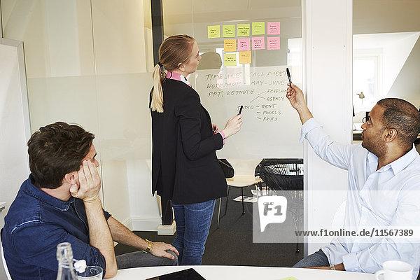 Schweden  Leute  die während eines Meetings im Büro sprechen