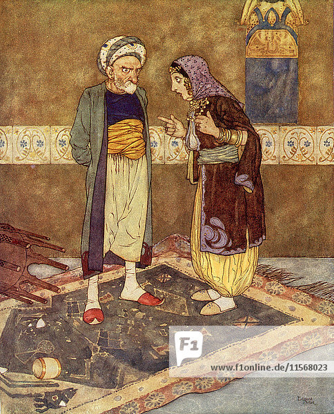 'As soon as he came in she bagan to jeer at him. ''You think yourself rich '' said she  ''but Ali Baba is richer''. Illustration by Edmund Dulac for Ali Baba and the Forty Thieves. From The Arabian Nights  published 1938.'