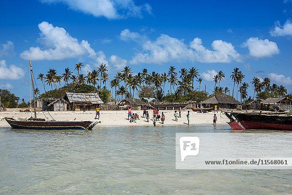 'Kids on the beach of Quirimba Island  Quirimbas National Park; Cabo Delgado  Mozambique'