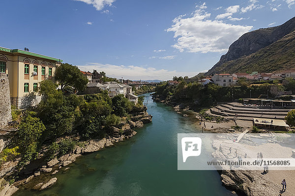 'View of River Neretva from Mostar Bridge; Mostar  Bosnia and Herzogovina'