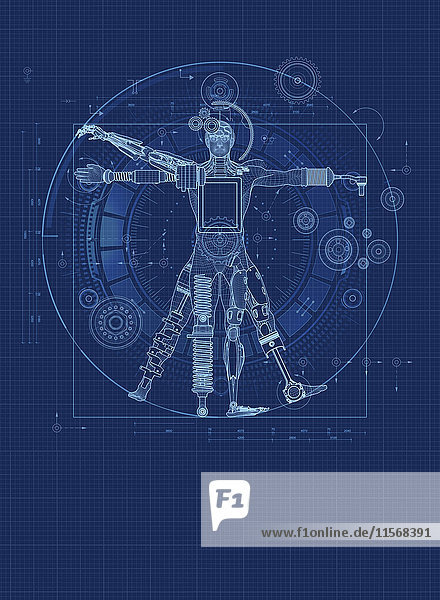 Blaupause für einen roboterhaften vitruvianischen Mann