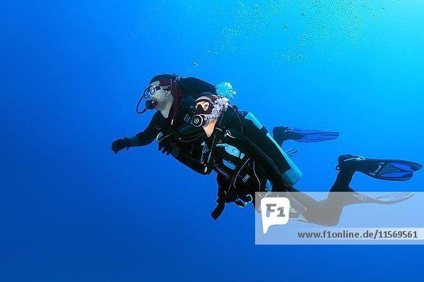 Zwei Taucher,  Mann und Frau,  schwimmen in blauem Wasser,  Rotes Meer,  Ägypten,  Afrika