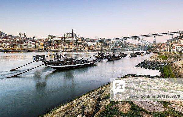 Rabelo boats  port wine boats on the Rio Douro  Douro River  Porto  Portugal  Europe