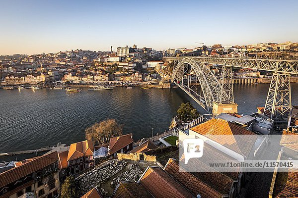 Historic centre and Bridge  Arch Bridge Ponte Dom Luís over the Douro  connecting Porto  Portugal  Europe
