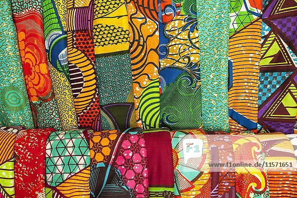 African traditional fabrics in a shop in Ghana
