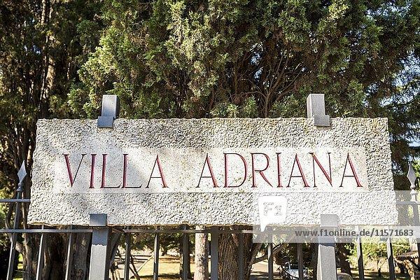 Villa Adriana information sign  UNESCO heritage  Tivoli  Italy  Europe