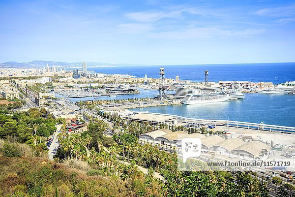 Cityview with harbour  viewed from Castle hill  Barcelona  Catalonia  Spain  Europe