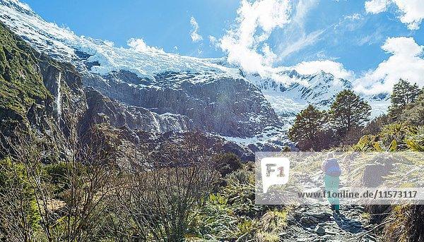 Wanderin auf Wanderweg  Rob Roy Gletscher  Mount Aspiring National Park  Otago  Südinsel  Neuseeland  Ozeanien