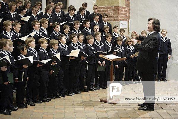 Boys Choir in Thomas Church under the direction of Thomas Cantor Professor Georg Christoph Biller  Leipzig  Germany  Europe
