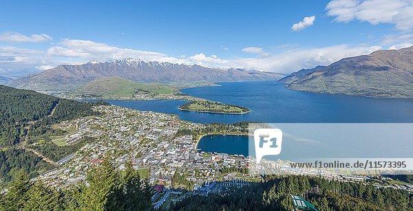 Panoramablick  Ausblick auf Lake Wakatipu und Queenstown  Ben Lomond Scenic Reserve  Skyline Queenstown  Otago  Südinsel  Neuseeland  Ozeanien