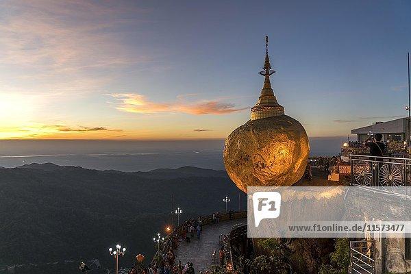 Golden Rock Kyaiktiyo Pagoda  dusk  Kyaikto  Myanmar  Asia