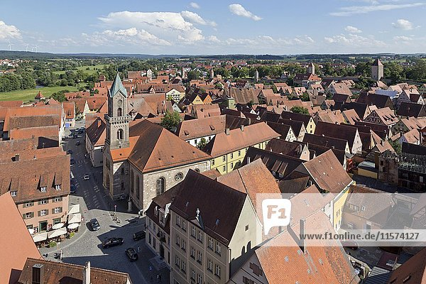View from the tower of the Cathedral on the historic centre  Dinkelsbühl  Middle Franconia  Bavaria  Germany  Europe