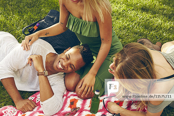 Three adult friends laughing on picnic blanket in park