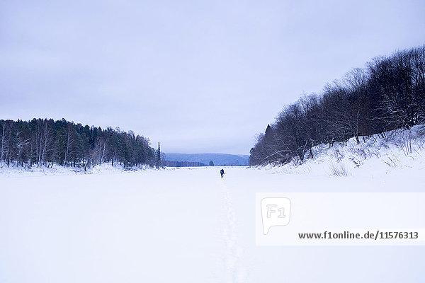 Entfernter Mann auf schneebedeckter Landschaft