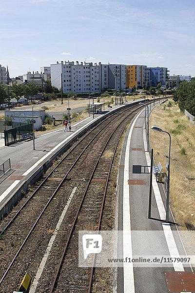 France  North-Western France  Reze  railroad tracks at the railway station of Reze-Pont-Rousseau