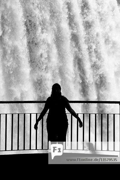Brasilien  Iguazu-Fälle von der brasilianischen Seite aus gesehen und die Silhouette eines Touristen von hinten gesehen.